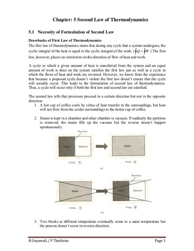 R Gnyawali / P Timilsina  Page 1  5 Chapter: 5 Second Law of Thermodynamics 5.1 Necessity of Formulation of Second Law Dra...