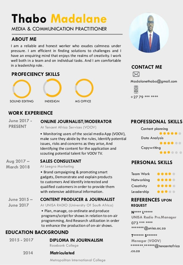 Thabo Madalane Resume References Upon Request