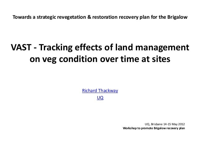 Towards a strategic revegetation & restoration recovery plan for the Brigalow VAST - Tracking effects of land management o...