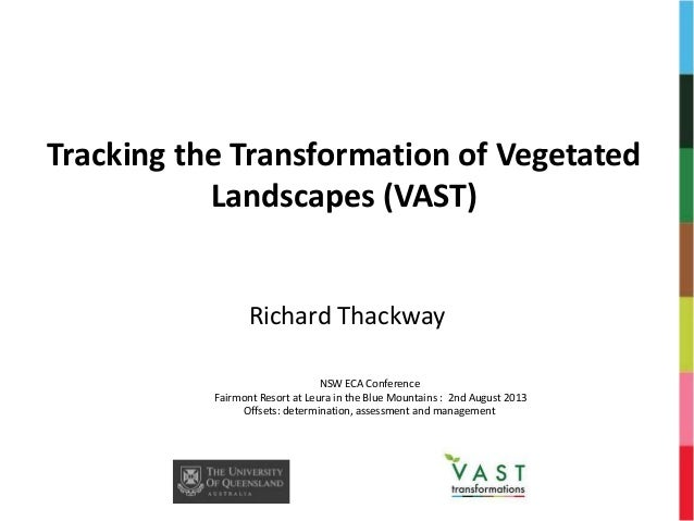 Tracking the Transformation of Vegetated Landscapes (VAST) Richard Thackway NSW ECA Conference Fairmont Resort at Leura in...