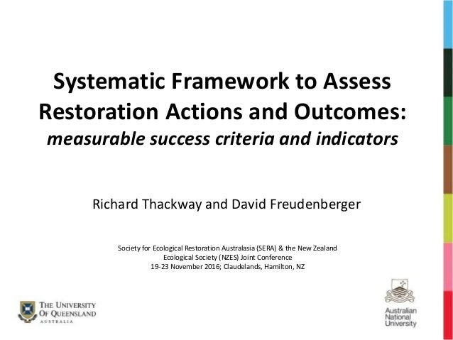 Systematic Framework to Assess Restoration Actions and Outcomes: measurable success criteria and indicators Richard Thackw...