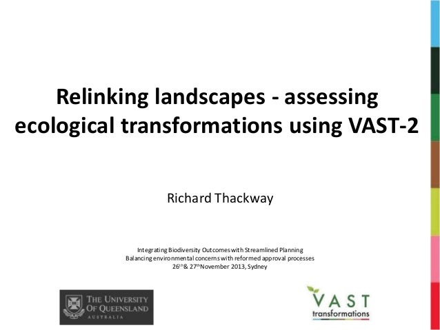Relinking landscapes - assessing ecological transformations using VAST-2 Richard Thackway  Integrating Biodiversity Outcom...