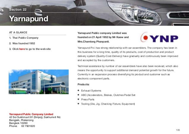 Yarnapund Public company Limited was founded on 21 April 1952 by Mr Kaew and Mrs.Chamlong Phanpanit. Yarnapund Pcl. has st...