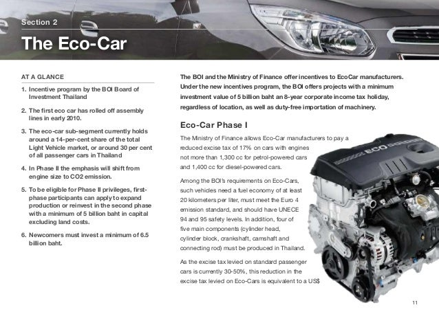 The BOI and the Ministry of Finance offer incentives to EcoCar manufacturers. Under the new incentives program, the BOI offe...