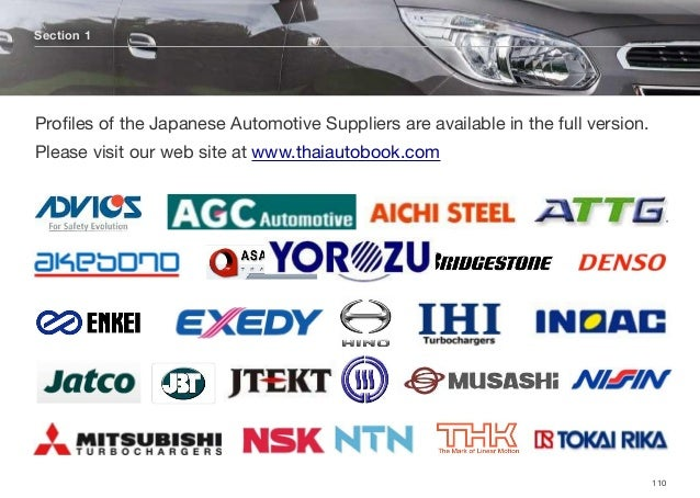 Section 1 110 Profiles of the Japanese Automotive Suppliers are available in the full version. Please visit our web site at...