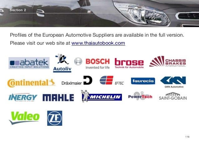 Section 2 116 Profiles of the European Automotive Suppliers are available in the full version. Please visit our web site at...