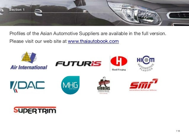 Section 1 118 Profiles of the Asian Automotive Suppliers are available in the full version. Please visit our web site at ww...