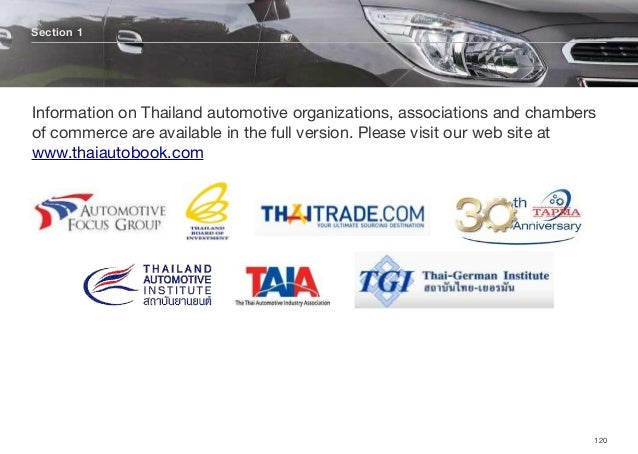 Section 1 120 Information on Thailand automotive organizations, associations and chambers of commerce are available in the...