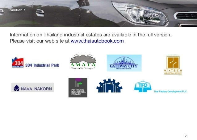 Section 1 124 Information on Thailand industrial estates are available in the full version. Please visit our web site at w...