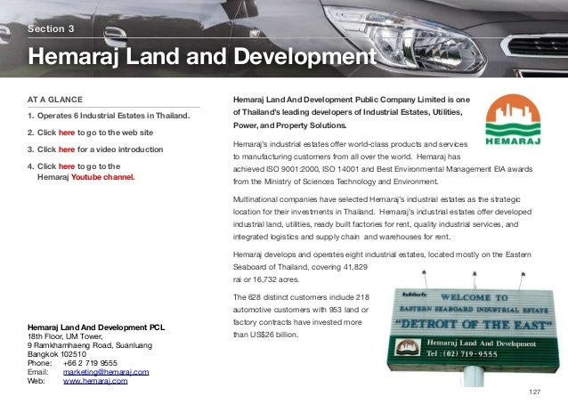 Hemaraj Land And Development Public Company Limited is one of Thailand's leading developers of Industrial Estates, Utiliti...