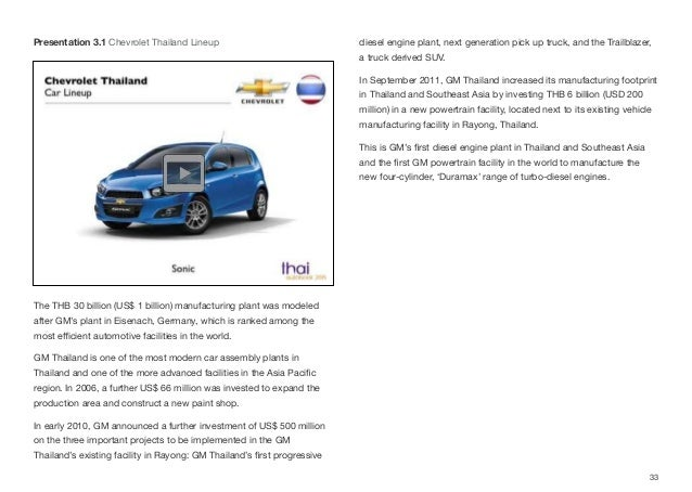 The THB 30 billion (US$ 1 billion) manufacturing plant was modeled after GM's plant in Eisenach, Germany, which is ranked ...