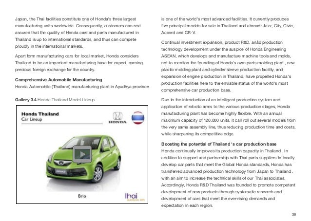 Japan, the Thai facilities constitute one of Honda's three largest manufacturing units worldwide. Consequently, customers ...
