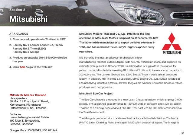 Mitsubishi Motors (Thailand) Co., Ltd. (MMTh) is the Thai operation of Mitsubishi Motors Corporation. It became the first T...
