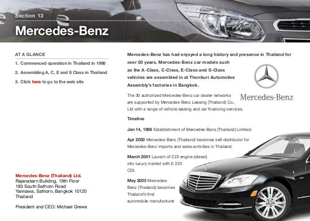 Mercedes-Benz has had enjoyed a long history and presence in Thailand for over 50 years. Mercedes-Benz car models such as ...