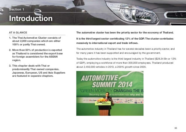 The automotive cluster has been the priority sector for the economy of Thailand. It is the third largest sector contributi...