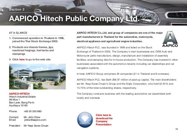 AAPICO HITECH Co.,Ltd. and group of companies are one of the major part manufacturers in Thailand for the automotive, moto...