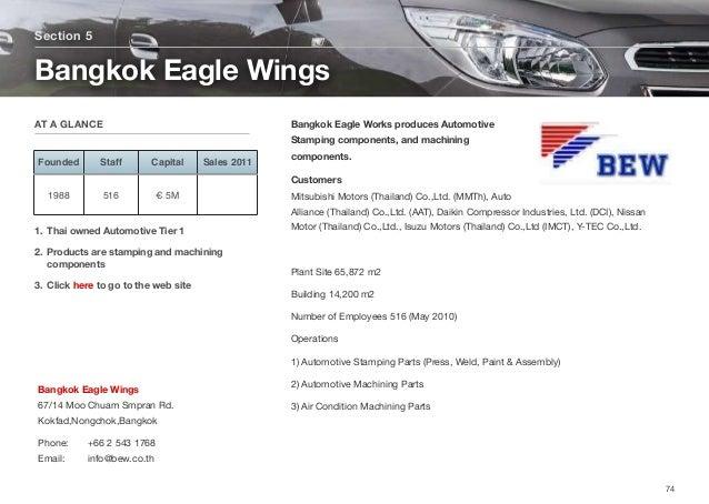 Bangkok Eagle Works produces Automotive Stamping components, and machining components. Customers  Mitsubishi Motors (Thai...