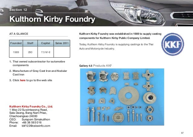 Kulthorn Kirby Foundry was established in 1989 to supply casting components for Kulthorn Kirby Public Company Limited. Tod...