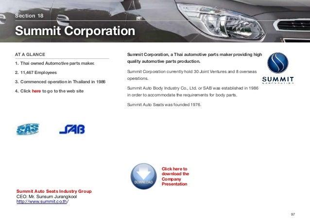 Summit Corporation, a Thai automotive parts maker providing high quality automotive parts production. Summit Corporation c...