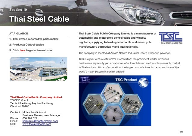Thai Steel Cable Public Company Limited is a manufacturer of automobile and motorcycle control cable and window regulator,...