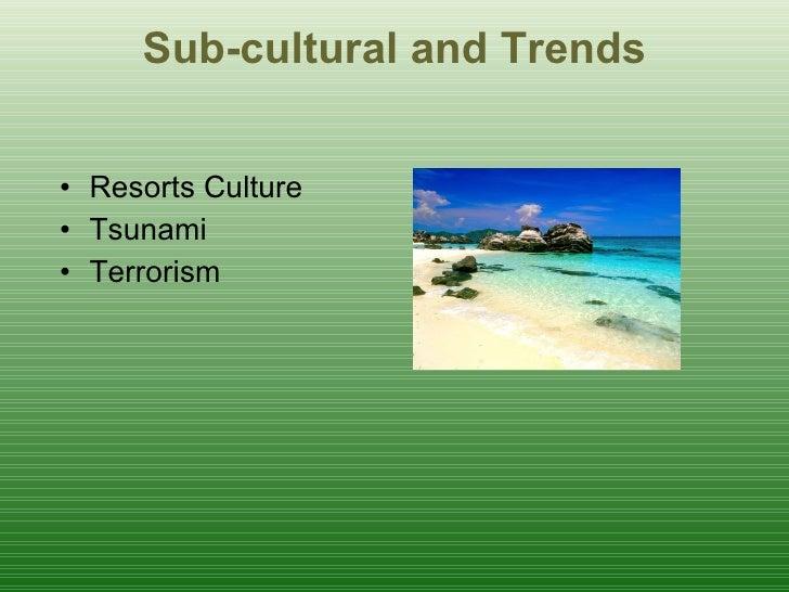 Sub-cultural and Trends <ul><li>Resorts Culture </li></ul><ul><li>Tsunami </li></ul><ul><li>Terrorism </li></ul>