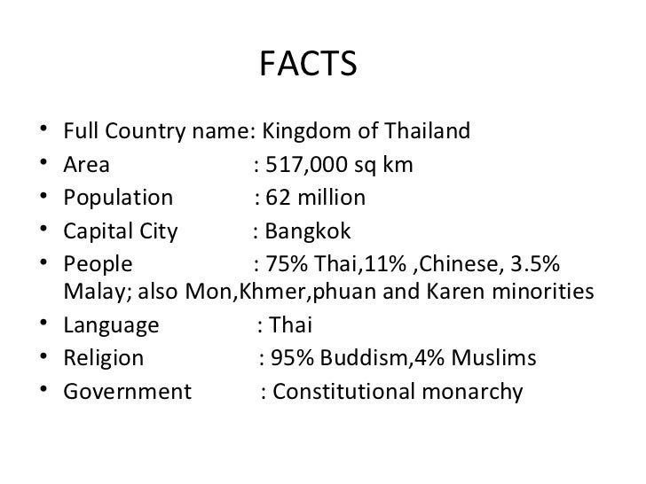 Thailand - Country name and capital city