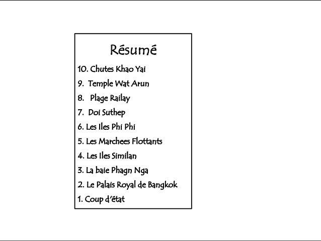 Résumé 10. Chutes Khao Yai 9. Temple Wat Arun 8. Plage Railay 7. Doi Suthep 6. Les Iles Phi Phi 5. Les Marchees Flottants ...