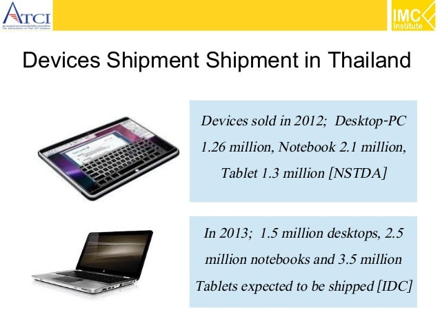Devices Shipment Shipment in Thailand Devices sold in 2012; Desktop-PC 1.26 million, Notebook 2.1 million, Tablet 1.3 mill...