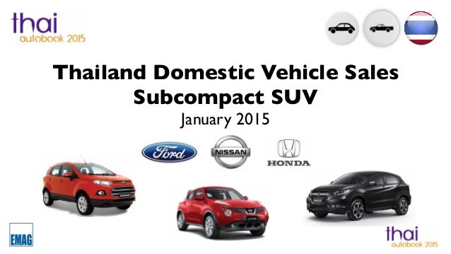 Thailand Domestic Vehicle Sales Subcompact SUV January 2015