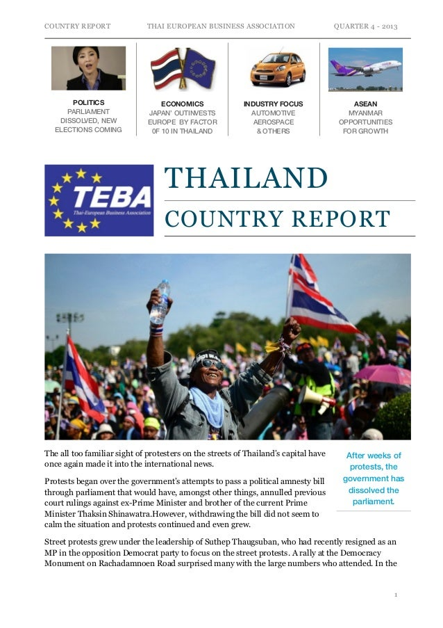 COUNTRY REPORT  POLITICS PARLIAMENT DISSOLVED, NEW ELECTIONS COMING  THAI EUROPEAN BUSINESS ASSOCIATION  ECONOMICS JAPAN' ...