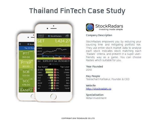 Thailand FinTech Case Study Company Description Jitta is an intelligent finance platform taking aim at the S&P 500 as the...