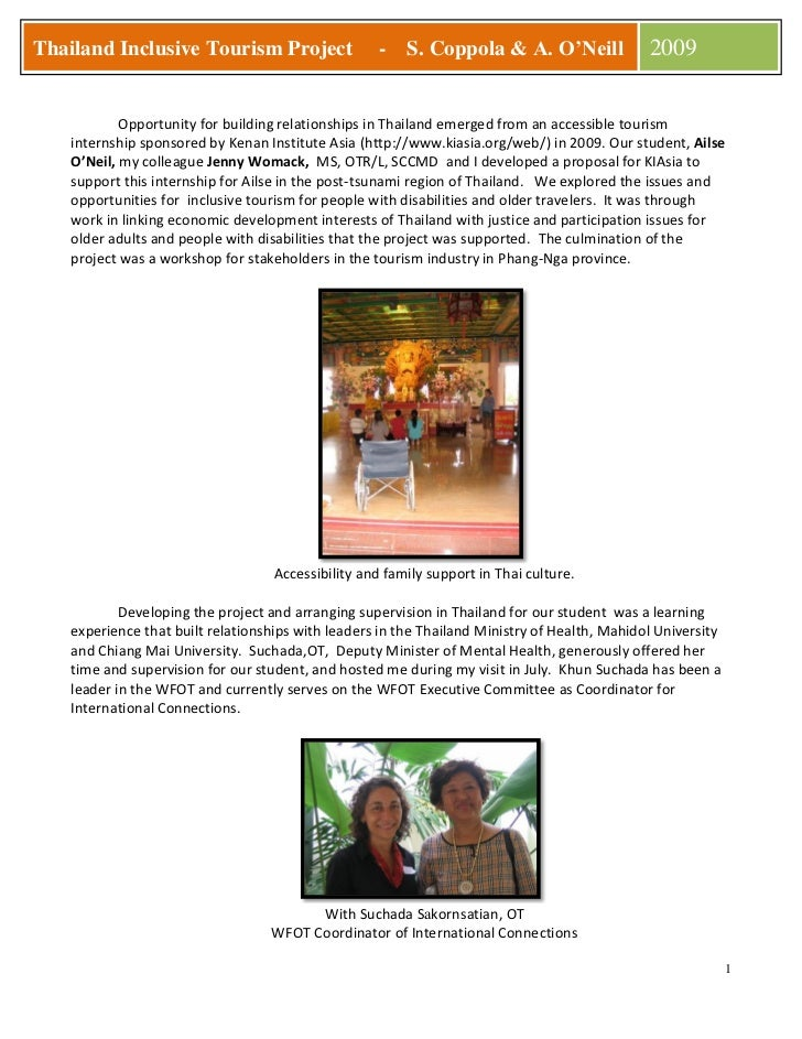 Thailand Inclusive Tourism Project                  -   S. Coppola & A. O'Neill               2009              Opportunit...