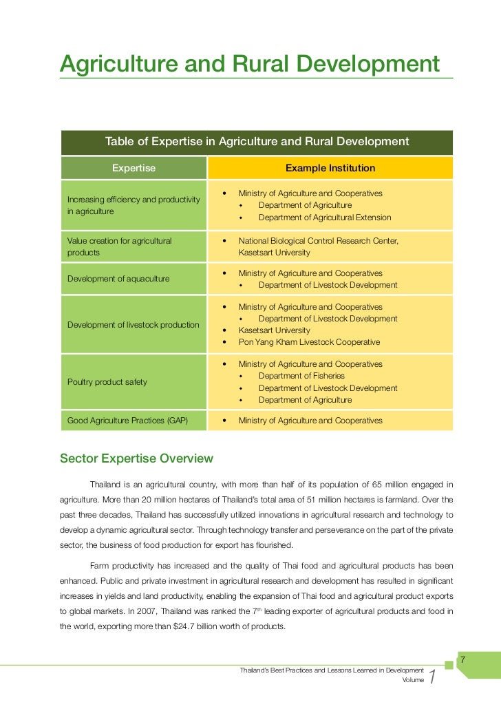 development of the agricultural sector