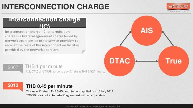 INTERCONNECTION CHARGE  Interconnection charge  AIS, DTAC and TRUE agree to pay IC rate at THB 1.00/minute.  Presentation ...