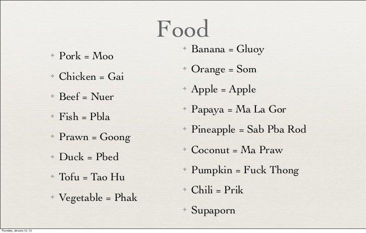 Thai language pdf food banana gluoy pork moo orange som chicken gai apple apple beef nuer papaya ma la gor m4hsunfo