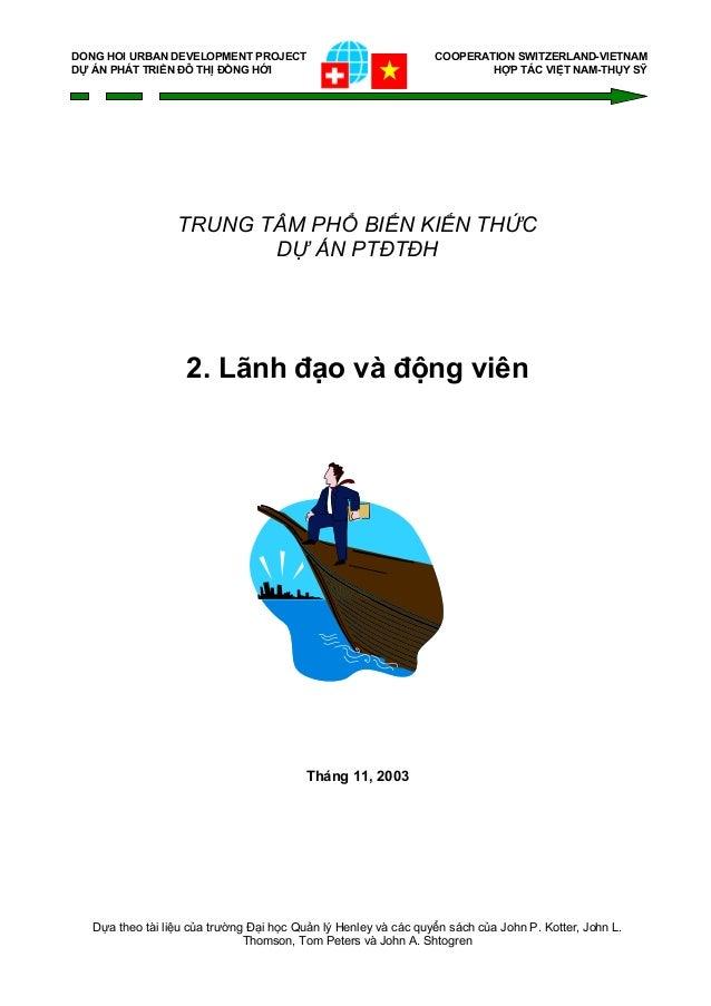 DONG HOI URBAN DEVELOPMENT PROJECT COOPERATION SWITZERLAND-VIETNAMDỰ ÁN PHÁT TRIỂN ĐÔ THỊ ĐỒNG HỚI HỢP TÁC VIỆT NAM-THỤY S...