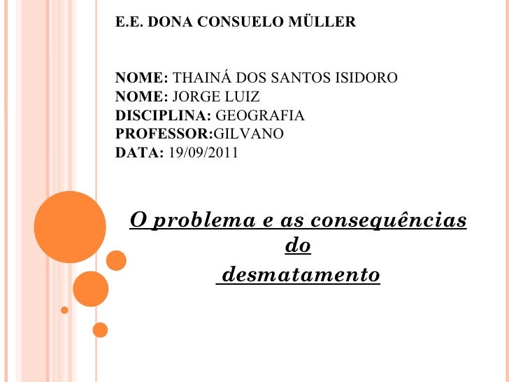 E.E. DONA CONSUELO MÜLLER  NOME:  THAINÁ DOS SANTOS ISIDORO NOME:  JORGE LUIZ DISCIPLINA:  GEOGRAFIA   PROFESSOR: GILVANO ...