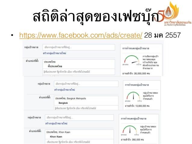 สถิติล่าสุดของเฟซบุ๊ก • https://www.facebook.com/ads/create/ 28 มค 2557
