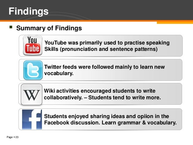 Findings      Summary of Findings               YouTube was primarily used to practise speaking               Skills (pro...