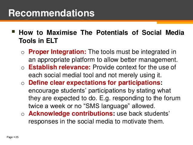 Recommendations           How to Maximise The Potentials of Social Media            Tools in ELT            o Proper Inte...