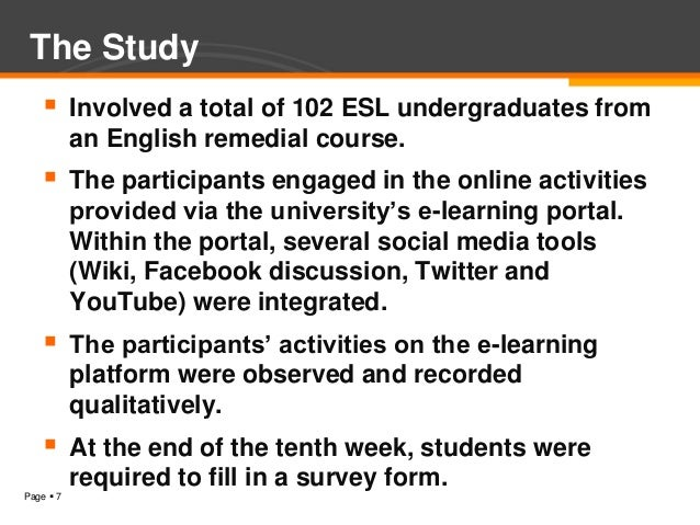 The Study          Involved a total of 102 ESL undergraduates from           an English remedial course.      The partic...