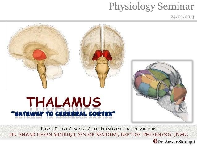 "Physiology Seminar24/06/2013©Dr. Anwar SiddiquiTHALAMUS""Gateway to cerebral cortex"""