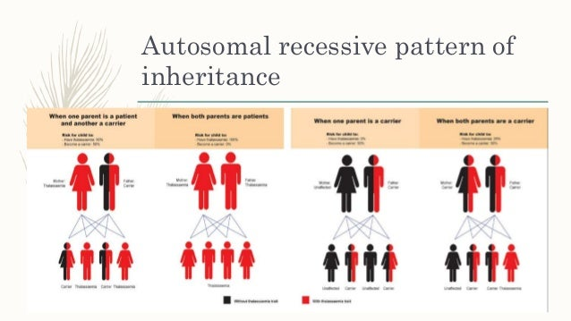 the inheritance pattern for thalassemia disorder Example of an inheritance pattern for beta thalassemia the severity of symptoms depends on the severity of the disorder no symptoms alpha thalassemia silent.