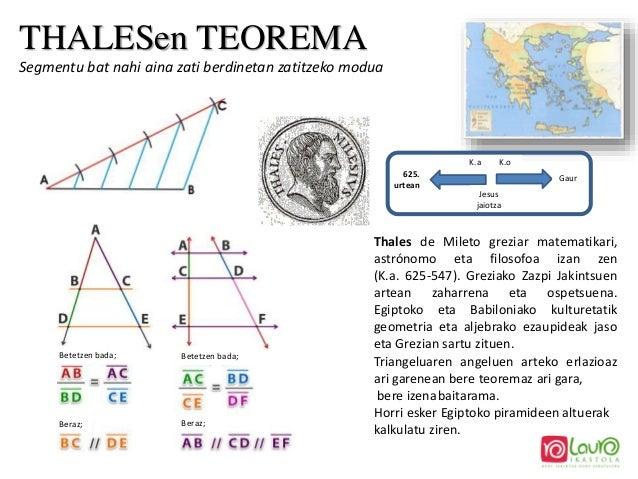 THALESen TEOREMA Segmentu bat nahi aina zati berdinetan zatitzeko modua Thales de Mileto greziar matematikari, astrónomo e...