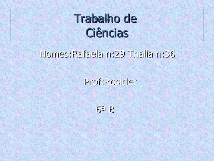 Trabalho de  Ciências <ul><li>Nomes:Rafaela n:29 Thalia n:36  </li></ul><ul><li>Prof:Rosicler </li></ul><ul><li>6ª B  </li...