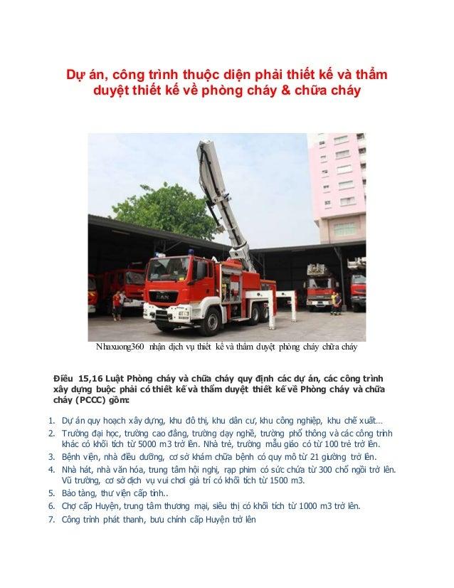 Dự án, công trình thuộc diện phải thiết kế và thẩm duyệt thiết kế về phòng cháy & chữa cháy Nhaxuong360 nhận dịch vụ thiết...