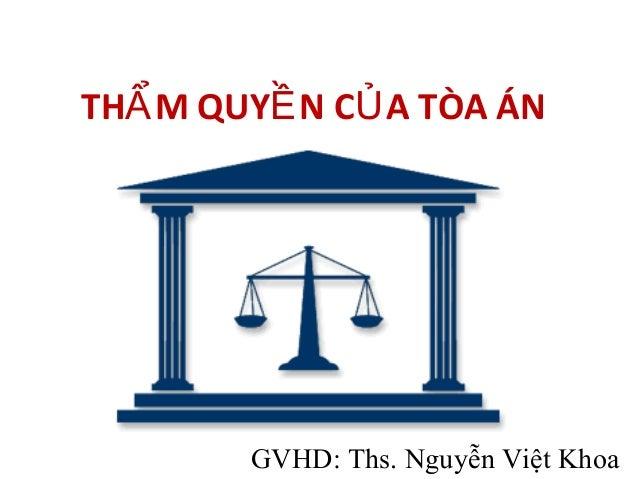 TH M QUY N C A TÒA ÁNẨ Ề Ủ GVHD: Ths. Nguyễn Việt Khoa
