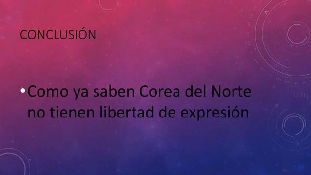 CONCLUSIÓN •Como ya saben Corea del Norte no tienen libertad de expresión