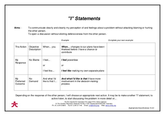 T handout masters 2nd ed web 625kb – I Statement Worksheets