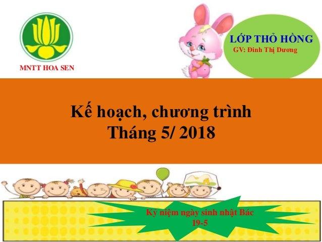 MNTT HOA SEN LỚP THỎ HỒNG GV: Đinh Thị Dương Kế hoạch, chương trình Tháng 5/ 2018 Kỷ niệm ngày sinh nhật Bác 19-5